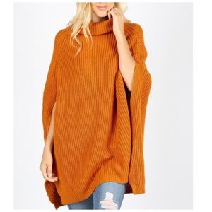 Turtleneck sweater poncho tunic spice orange NWT